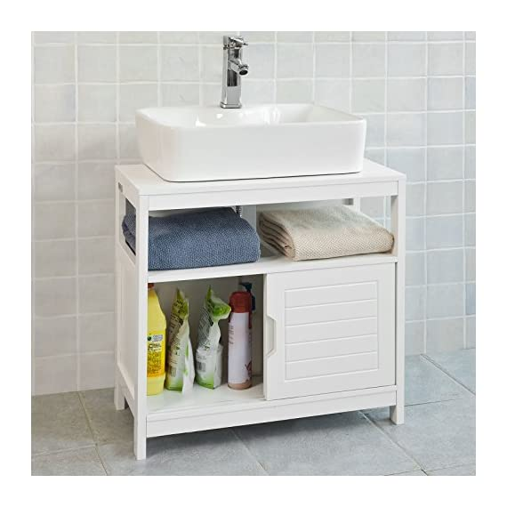 Haotian White Under Sink Bathroom Storage Cabinet with Shelf and Double Sliding Door,Bathroom Vanity 60x30x60cm,FRG128-W - White Under Sink Bathroom Storage Cabinet is perfect for your modern or traditional decor. It has 1 shelf and double sliding door with internal spacious space. Material/Finish: White MDF. Dimension:W23.62 x D11.81 x H23.62 inch. - bathroom-vanities, bathroom-fixtures-hardware, bathroom - 51n79LEtK6L. SS570  -
