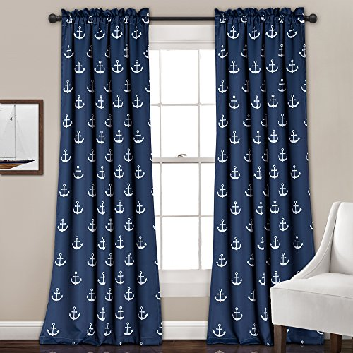 Lush Decor 16T000697 Anchor Room Darkening Window Panel Curtain Set, 84″ x 52″ + 2″ Header, Navy