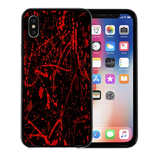 Semtomn Phone Case for Apple iPhone Xs case,Red Horror Blood Stains Halloween Splatter Criminal Scene Abstract for iPhone X Case,Rubber Border Protective Case,Black]()
