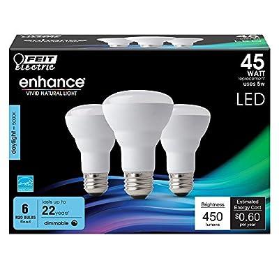 (6-Pack) Feit LED Dimmable R20 High Performance Flood Light Bulb, 450-Lumen, 5000K, 45-Watt Equivalent, E26 Base, CRI 90+