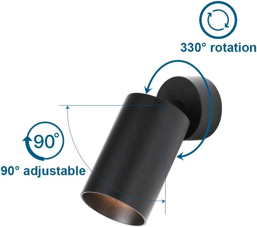 Lampadina Non Inclusa 56x115mm Rotondo Plafoniera da Soffitto Moderna Faretto da superficie in Alluminio Regolabile Attacco GU10 Klighten 2 Pcs Faretti da Soffitto Orientabili Nero