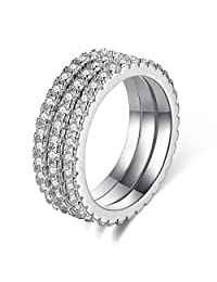 Rose/Champagne/Rhodium Plated AAA CZ Rings for Women Solitaire 3pcs Stackable Bands Party Charming Jewelry Size 5-10