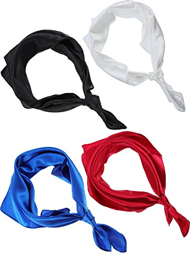 Leinuosen Satin Silk Square Neck Scarf, Woman Girls Silk Headscarf for Professional Dress or Casual, 4 Pieces, 23 x 23 Inch (White, Wine Red, Royal Blue and Black)
