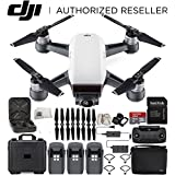DJI Spark Portable Mini Drone Quadcopter Fly More Combo Water Proof Hard Case Bundle With Extra Battery (Alpine White)