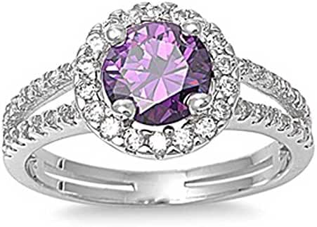 Sterling Silver Simulated Amethyst ring Clear Cz Double Channel set Band Ring