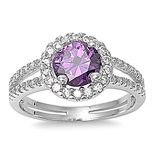 Sterling Silver Simulated Amethyst ring Clear Cz Double Channel set Band Ring Amethyst Channel Set
