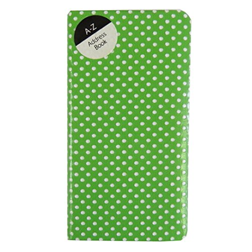 Slim Soft Touch, A-Z Address Book - Retro Polka Dots - Lime Green