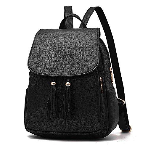 (JVP 1037-B) Las señoras mochila cuero de la PU negro espalda señoras bolsos traseros bolsos de hombro bolsos de gran capacidad bolsos de marea de moda bolsas de cercanías populares suburbano Negro