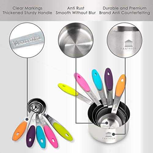 Stainless Steel Measuring Cups and Spoons Set - Metal Cup and Spoon Set to Measure Dry Food - Silicone Handles - Great for Cooking and Baking in the Kitchen - 10 Different Large to Small Measurements