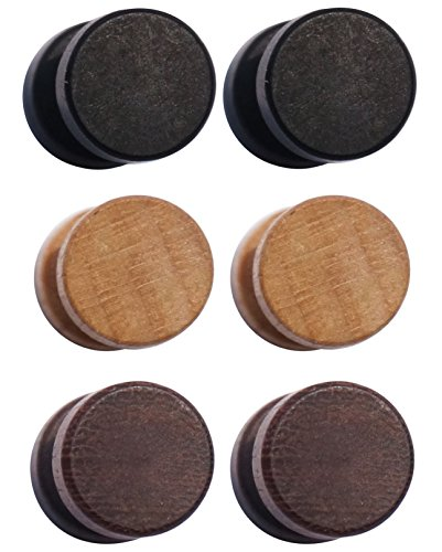 3 Pairs Wood Wooden Vintage Round Circle Fake Cheater Plugs Tunnel Mens Womens Stainless Steel Stud Earrings (10mm)