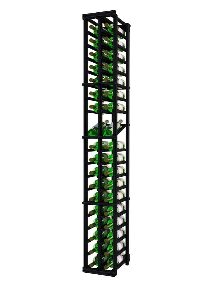Wine Cellar Innovations DPI-MB-2COLDS-A3 Designer Series 2 Column with Display Wine Rack, Rustic Pine, Without Lacquer Finish, Midnight Black Stain