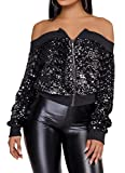 Speedle Women Party Clubwear Sexy Off The Shoulder Sequin Jacket Coat Outwear Black XL