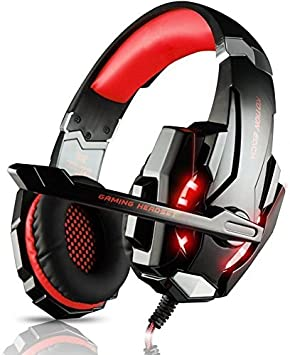 LESHP Gaming Headset Professional Auriculares para juegos Stereo PS4 Xbox One con micrófono 3.5mm Jack LED Light de bajo ruido Compatible con PS4 PC Laptop ...