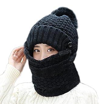 35cbb311e793 WETOO Bonnet Chaud Femme Hiver Beanie Chapeau pour Femme Tricot Coton  Bonnet Echarpe 3Pcs