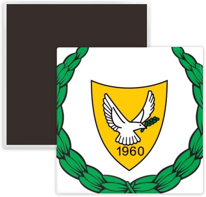 Cyprus National Emblem Country Square Ceramics Fridge Magnet Keepsake Memento