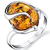 Sterling Silver Baltic Amber Swirl Design Engagement Ring with Cognac Color Large Stone Sizes 5 to 9