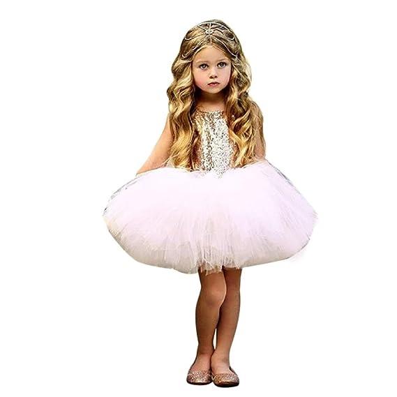 Ropa Niña, K-youth® Lentejuelas Vestidos de Princesa Fiesta Bautizo Tutú Vestido Elegante