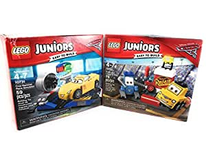 Lego Junior Disney Pixar Cars 10732 Guido and Luigis Pit Set and 10731 Cruz Ramirez Race Simulator Building Kit Bundle