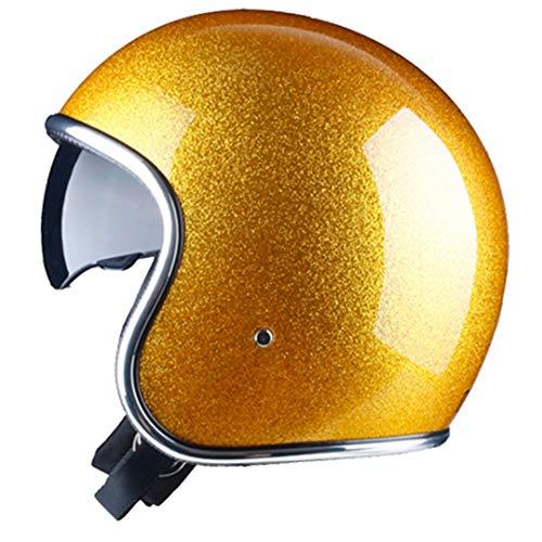 Jet Open Face Motorcycle Helmet with Lens Moto Vintage Pilot Cruise Helmet Shiny Yellow M