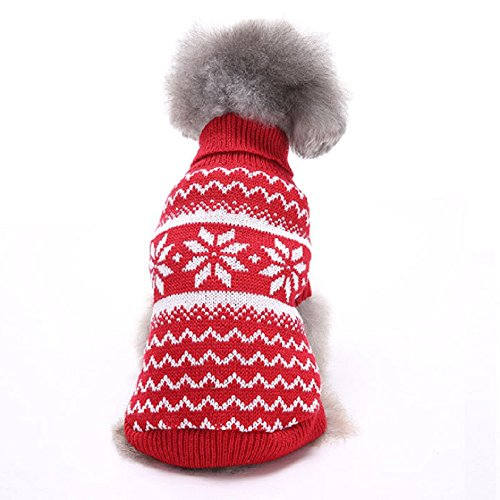 Systond Dog Knitwear Sweater Pet Jumper Coat Doggy Classic Snowflake Jacket Cat Spring Jumpersuit Hoodies Puppy Clothes for Small Medium Large Dogs Sweater01