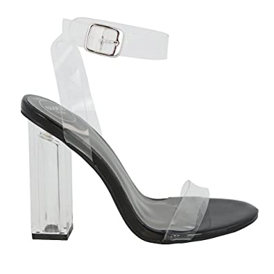 082ebf473fb New Womens Clear Heel and Strappy Peep Toe Sandals Ladies Party Perspex  Shoes