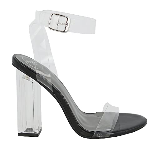 a9f0e09fa59 New Womens Clear Heel and Strappy Peep Toe Sandals Ladies Party Perspex  Shoes  Amazon.co.uk  Shoes   Bags