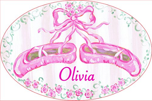 pell Olivia, Pink Ballet Slippers Personalized Oval Wall Plaque ()
