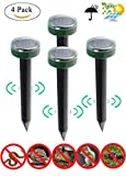 Bestn Solar Powered UltraSonic Mole Repeller,Repels Rodents, Vole, Gopher, Snakes, for farmland and Garden,Environmentally friendly (4 pack)