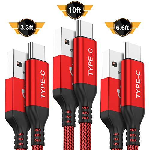 USB Type C Cable,AkoaDa 3-Pack (10ft+6.6ft+3.3ft) USB A to USB-C Fast Charger Nylon Braided Cord Compatible with Samsung Galaxy Note 9 8 S8 S9 S10 10 Plus,LG V50 V40 G8 ()