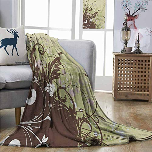 Degrees of Comfort Weighted Blanket Dragonfly Retro Style Flower with Grunge Effects in Vivid Tones Artsy Garden Image Lightweight Thermal Blankets W60 xL91 Khaki Brown Lilac