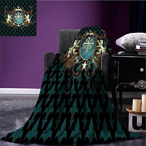 (RenteriaDecor Medieval Throw Blanket Heraldic Design from Middle Ages Coat of Arms Crown Lions and Swirls Print Artwork Teal Black Cinnamon Bed or Couch 60