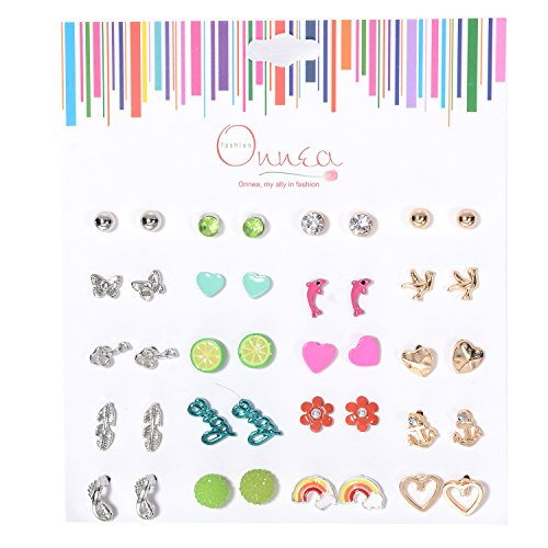 Oaonnea Multi Pairs Summer Vacation Animal Heart Assorted Earrings Studs Set, -