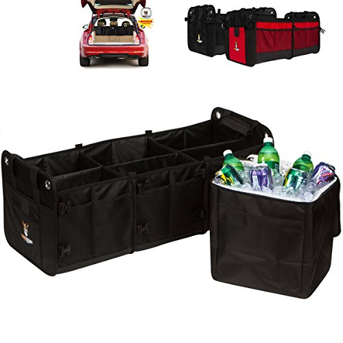 Tuff Viking PATENT PENDING Heavy-Duty 34″ x 14″ x 13″ 3-in-1 Convertible Collapsible Car Trunk Storage Organizer with V-Straps, Configurable up to 20 Compartments with Bonus Cooler Bag (Black)