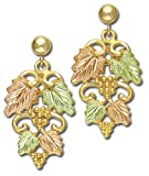 Landstroms 10k Black Hills Gold Earrings Detailed with Leaves and Grapes - 01656