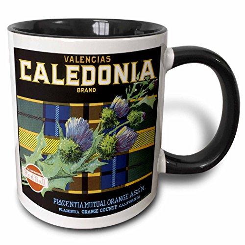 - 3dRose BLN Vintage Fruit and Vegetable Crate Labels - Vintage Caldeonia Brand Crate Label - 15oz Two-Tone Black Mug (mug_129858_9)
