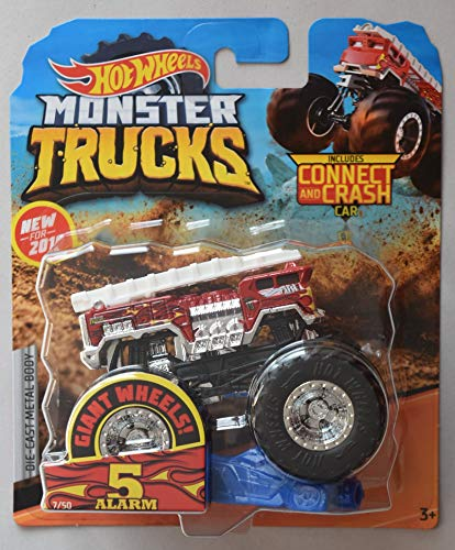 Hot Wheels Monster Trucks 1:64 Scale 5 Alarm 7/50 Giant Wheels Includes Connect and Crash car