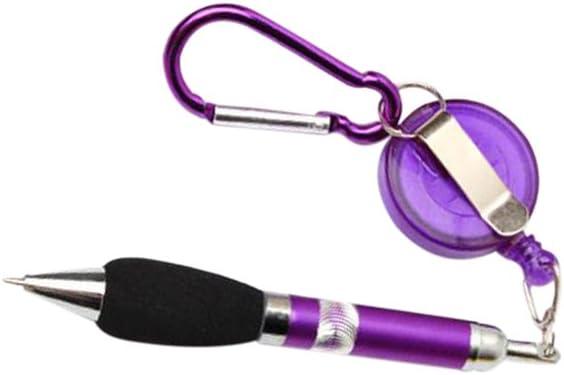 einziehbar Bandspule Kugelschreiber m.Guertel Clip W4K2 5Stk