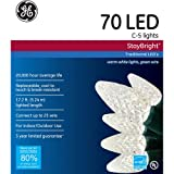 GE Staybright LED C5 Warm White Christmas Lights, 70 Count