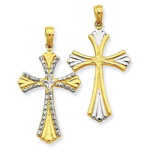 Or 14carats et rhodium Diamant réversible Croix Pendentif