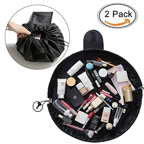 TANTO Lazy Makeup Bag Drawstring Cosmetic Bag Portable Quick Pack Travel Makeup Pouch Case Multifunctional Waterproof Toiletry Bags Makeup Brushes Storage Organizer