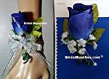 Horizon Blue Royal Blue & Silver Corsage & Boutonniere Wedding or Prom ...