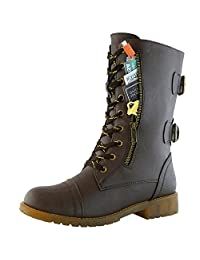 Women's Military Up Buckle Combat Boots Mid Knee High Exclusive Credit Card Pocket, PU