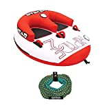 Kwik Tek Airhead Riptide 2 Double Rider Inflatable Boat Towable Tube with 60-Foot Tow Rope