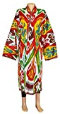UZBEK BEAUTIFUL HANDMADE NATURAL COTTON IKAT ROBE CHAPAN A11553