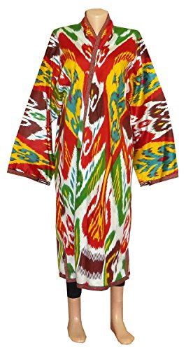 UZBEK BEAUTIFUL HANDMADE NATURAL COTTON IKAT ROBE CHAPAN A11553 by East treasures