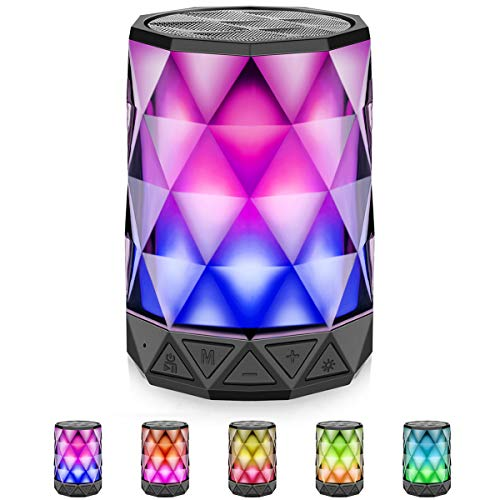 LED Bluetooth Speakers with Lights, LFS Night Light Changing Wireless Speakers, Ultra Colorful Multi-Color Auto-Changing Diamond Shape Speaker, Built-in Mic,TF Card TWS Supported, for iPhone, Samsung