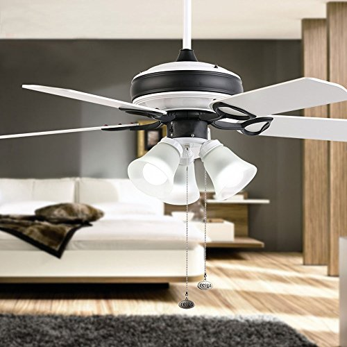 Tropicalfan Industrial Ceiling Fans With 3 Milk White Glass Light Cover Indoor Living Room Bedroom Simple Mute Electric Fan Chandeliers 5 Double Sided Reversible Blades 42 Inch Black And White Buy Online In