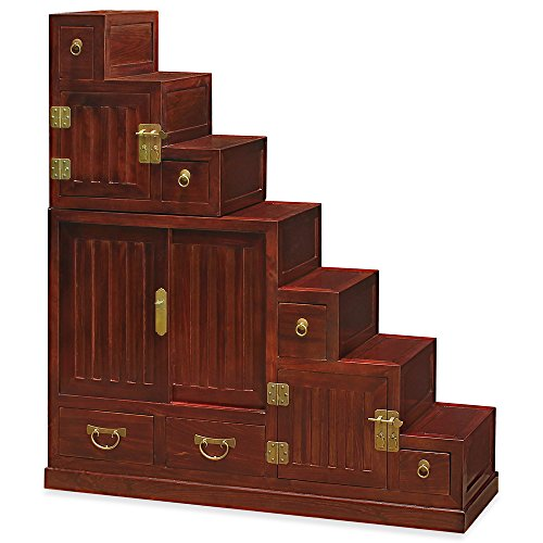China Furniture Online Elmwood Tansu Chest, Hand Crafted Japanese Style Step Tansu Cabinet in Mahogany Finish (Cabinet Step Tansu)