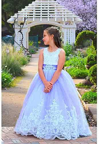 5c71dcdeb7d4 TriumphDress Girls Lavender Rich Rhinestone Embroidery California Flower  Girl Dress 6-10