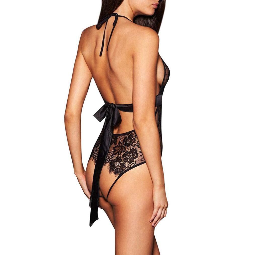 Lencería Erotica Mujer, ❤ Modaworld Lencería Sexy para Mujer sin Respaldo de Encaje Babydoll Ropa Interior de Entrepierna Abierta Lencería camisón Negra: ...